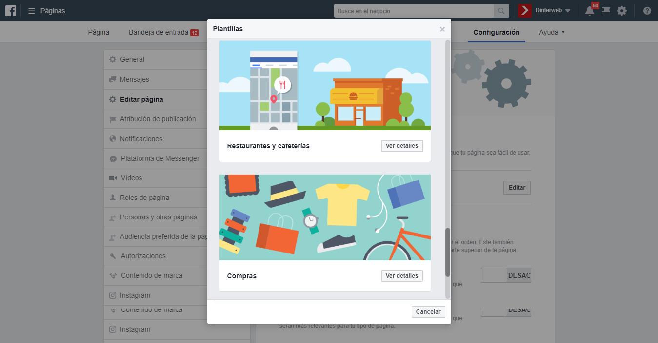 Facebook actualiza sus plantillas de servicios