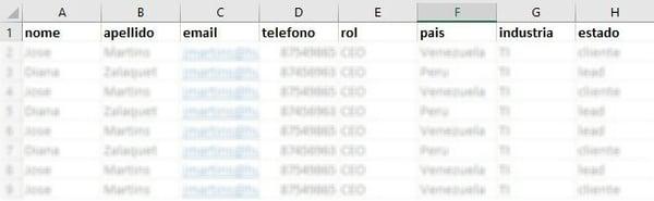 base de datos de clientes en Excel